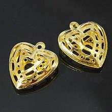 Кулон Сердце, Железный, Цвет: Золото, Размер: 22.5x20x6мм, Отверстие 1,5мм, (УТ100006383)