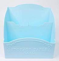 Подставка для кистей и пилок,пластик на 3 секции, голубая