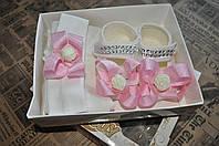 Подарочный набор Пинетки+колготы+повязка. от 1 до 3 мес