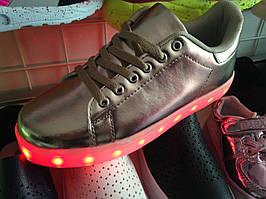 Светящиеся LED кроссовки золото