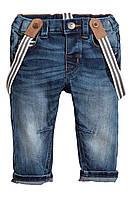 Детские джинсы на подтяжках 1,5-2 года