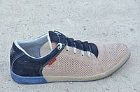 Спортивные туфли, кроссовки мужские летние бежевые натуральная кожа, нубук Харьков. Со скидкой
