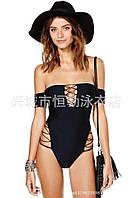 Слитный купальник бандо черный с тесёмками. Код136