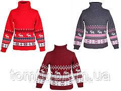 """Детский теплый, шерстяной свитер """"Олени"""" для девочек, оптом, фото 2"""