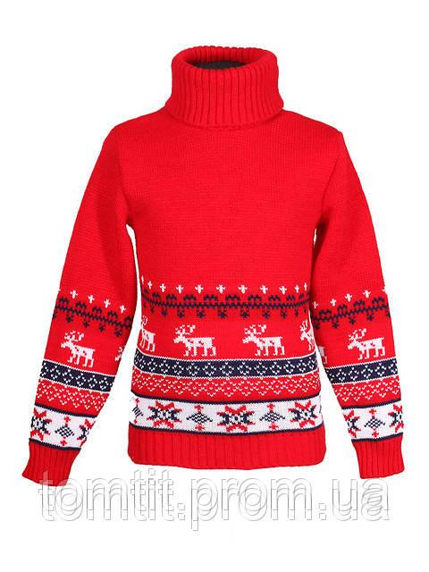"""Детский теплый шерстяной свитер """"Олени"""", для мальчика, цвет красный, на рост 98 - 104 см"""