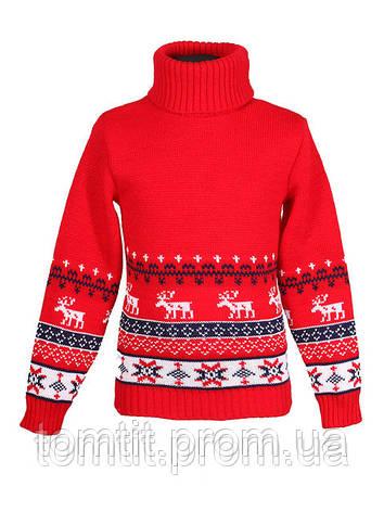 """Детский теплый шерстяной свитер """"Олени"""", для мальчика, цвет красный, на рост 98 - 104 см, фото 2"""