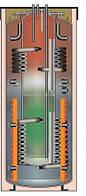 Буферная ёмкость комбинированная Meibes SKSE-1 401/200 со встроенным эмал. баком и одним ТО (без изол)