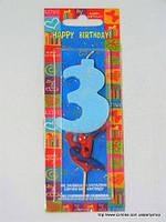 """Свеча на торт детская """"Человек-паук"""" цифра """"3"""" голубая"""