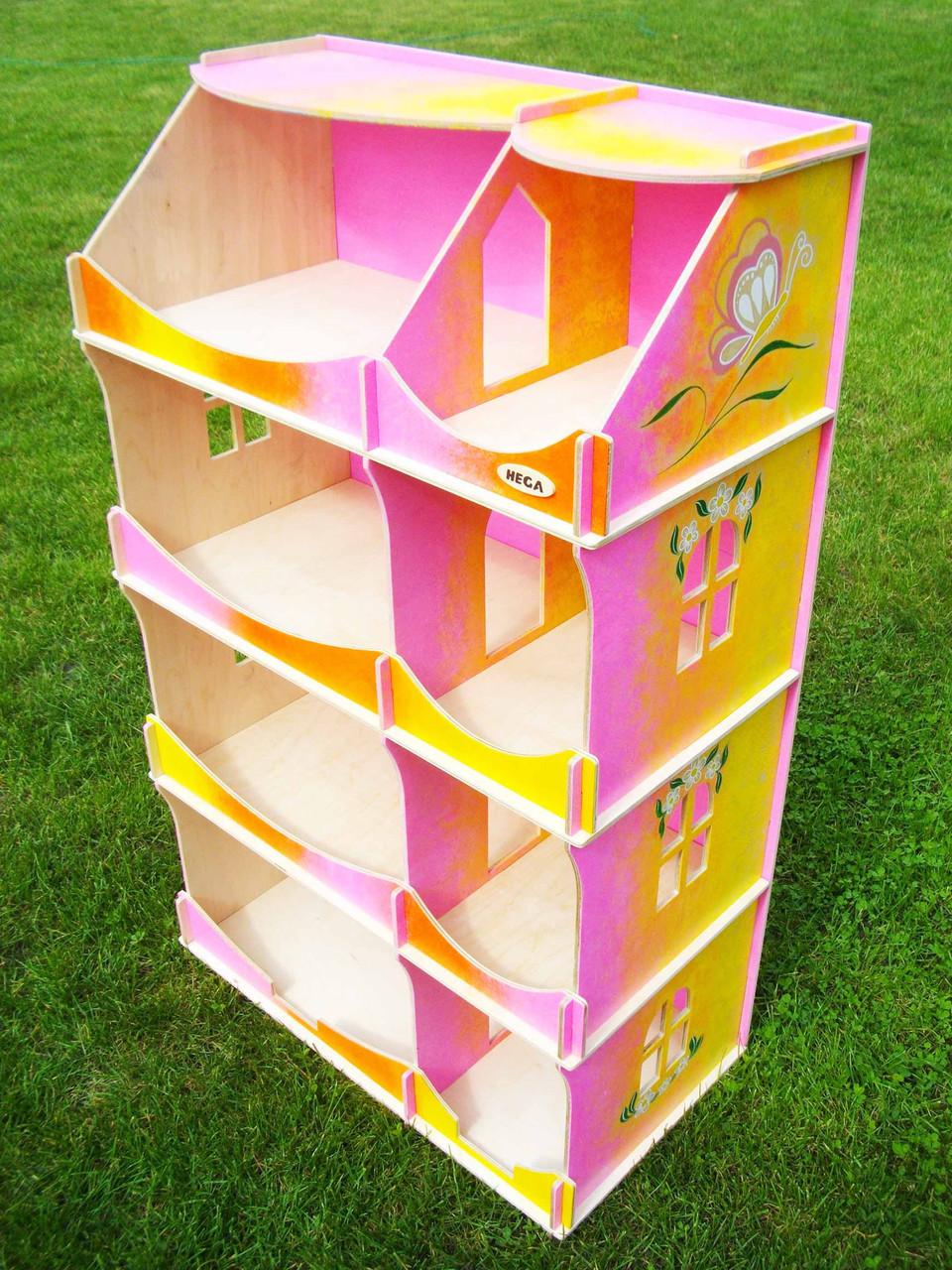 Кукольный домик-шкаф радужный с росписью
