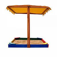 Детская песочница с регулируемой крышей 4