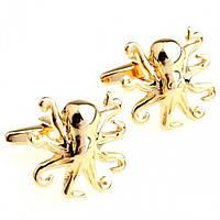 Запонки Bow Tie House золотистые Осьминожки - Octopus 09396