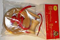 Пуговица деревянная 4 отверстия с катушкой и деревянной иголкой, фото 1