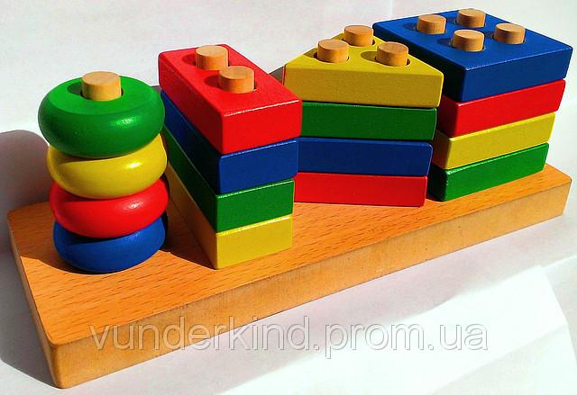 Сложная пирамида Геометрик - деревянная игрушка.