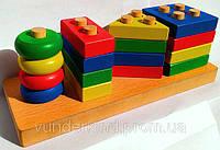 Сложная пирамида Геометрик - деревянная игрушка., фото 1