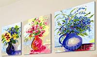 """Картины по номерам на холсте """"Цветное настроение"""" Триптих 3 в 1"""