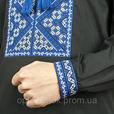 Вышиванка для мужчин с сине-белой вышивкой, фото 2