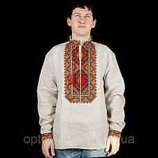 Ллянная мужская сорочка, цвета украинской земли, фото 2