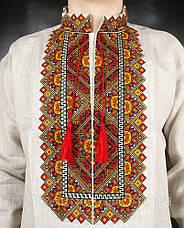 Ллянная мужская сорочка, цвета украинской земли, фото 3