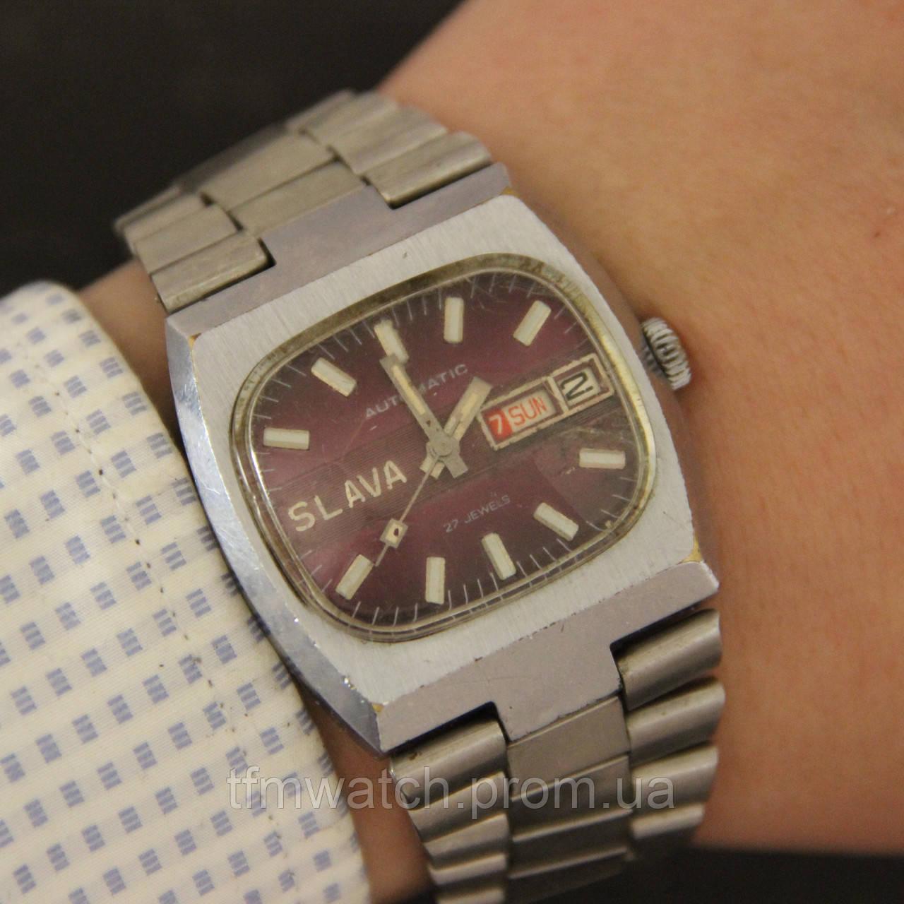 fc62af045642 Слава Танк автоподзавод мужские наручные часы СССР - Магазин старинных,  винтажных и антикварных часов TFMwatch