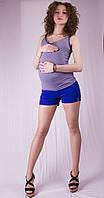 Шорты для беременных, синий и беж