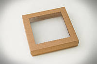 Коробка для пряника 150*150*30 КРАФТ КАРТОН + вікно з прозорої ПВХ плівки (пластик)