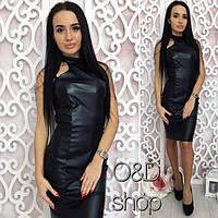 Женское модное платье из эко-кожи (3 цвета)