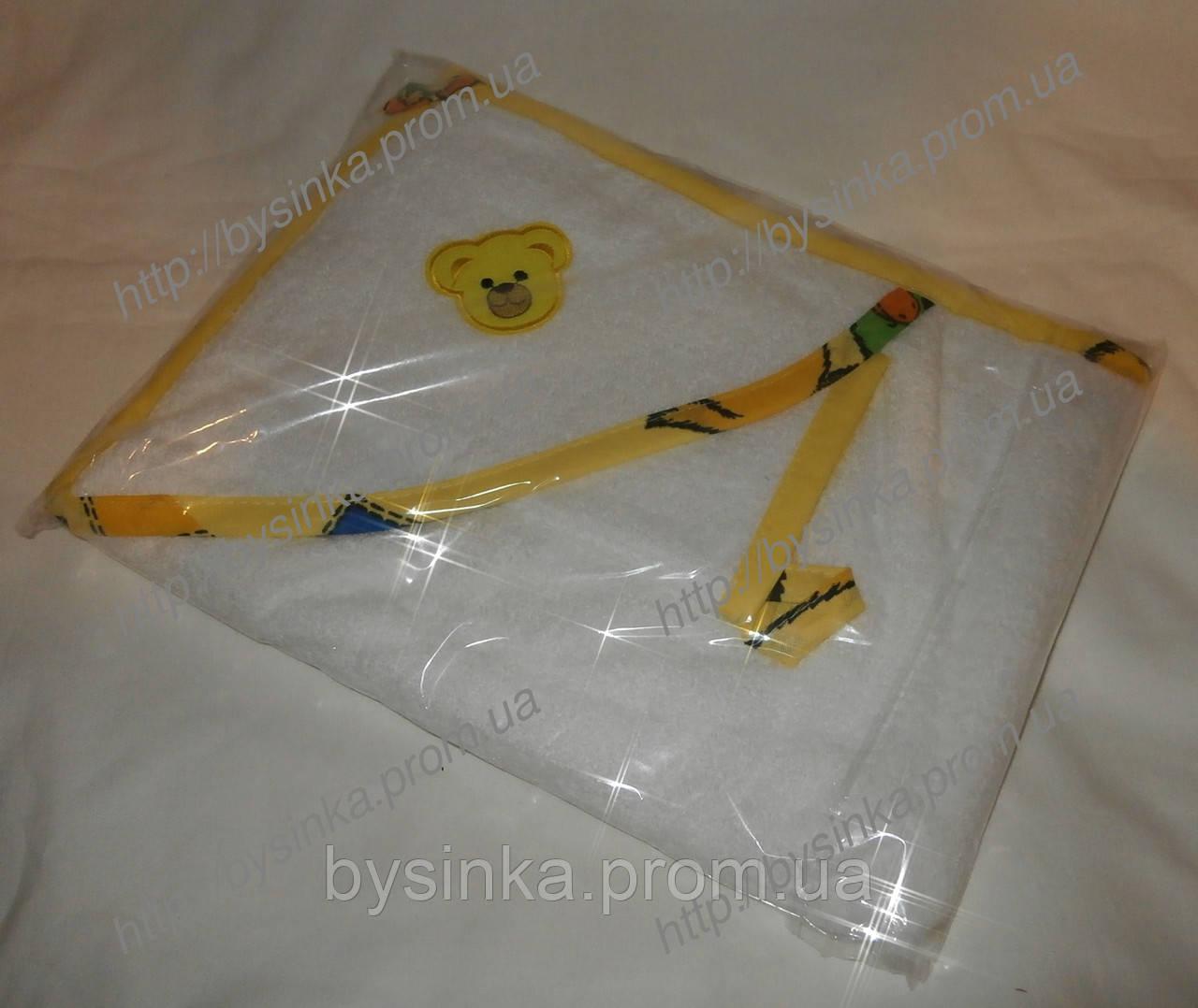 Детское полотенце-уголок для купания + рукавичка. 100% хлопок (махра)