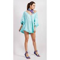 Оригинальная блуза пончо голубая