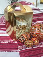 Коробка для кулича, пряничного дома, подарков 16х16х19 золотая