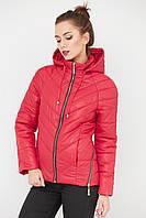 Классическая стеганная куртка для девушек новинки 2017 красный цвет
