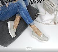 Женские туфли лоферы эко кожа + лак, светло серые / туфли лоферы для девочек, подошва 3,5 см,  удобные