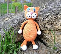 Мягкая вязаная игрушка Рыжий кот