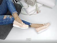 Женские туфли лоферы эко кожа + лак, пудра / туфли лоферы для девочек, подошва 3,5 см,  стильные