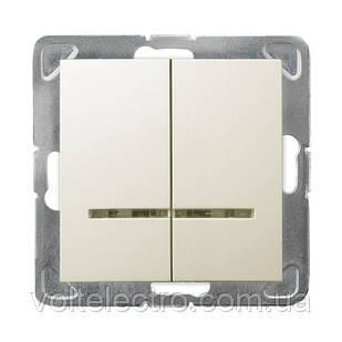 Вимикач подвійний з підсвіткою 250V/16A OSPEL IMPRESJA ŁP-2YS/m/27 беж.