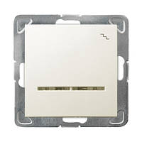 Выключатель одноклавишный проходной c подсветкой 250V/16A OSPEL IMPRESJA ŁP-3YS/m/27 беж.