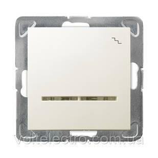 Вимикач одноклавішний прохідний c підсвічуванням 250V/16A OSPEL IMPRESJA ŁP-3YS/m/27 беж.