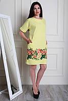 Желтое платье из костюмного крепа