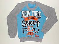 """Реглан с манжетом """"New York"""" для мальчика 8,9,10,11,12 лет (голубой)"""