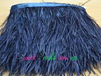 Перья страуса на ленте, темно-синий