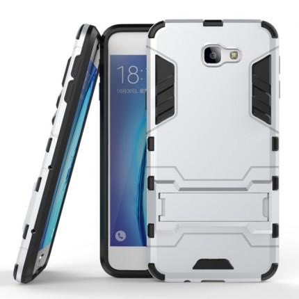 Ударопрочный чехол-подставка Transformer для Samsung G570F Galaxy J5 Prime с мощной защитой корпуса Серебряный / Satin Silver