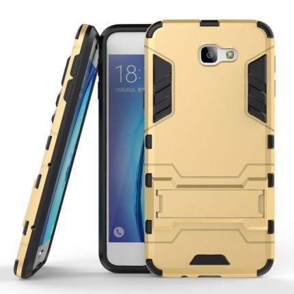 Ударопрочный чехол-подставка Transformer для Samsung G610F Galaxy J7 Prime с мощной защитой корпуса Золотой / Champagne Gold