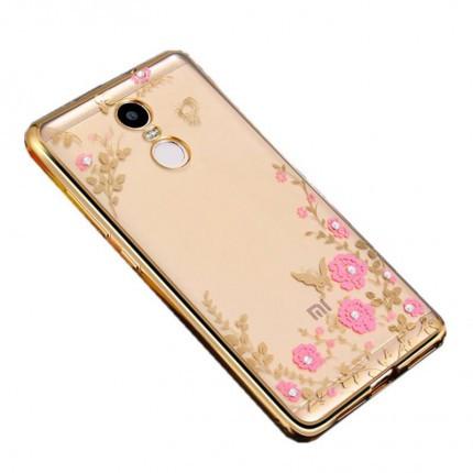 Прозрачный чехол с цветами и стразами для Xiaomi Redmi 4 с глянцевым бампером Золотой/Розовые цветы