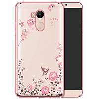 Прозрачный чехол с цветами и стразами для Xiaomi Redmi 4 Pro / Redmi 4 Prime с глянцевым бампером Розовый золотой/Розовые цветы