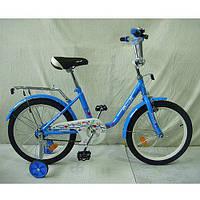 """Детский двухколесный велосипед Profi Flower 18"""" Голубой (L1884) со звонком"""