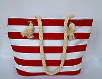 Детская, подростковая пляжная текстильная сумка для детей и подростков Полоска красная