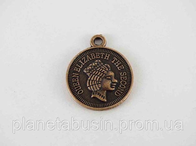 Кулон Монетка королевы, размер 19х19 мм, фото 2