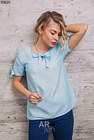 Легкая женская блуза летняя с коротким рукавом в расцветках