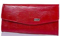 Яркий женский кожаный кошелек с тиснением под кожу крокодила CANPELLINI SHI2029-15 красный