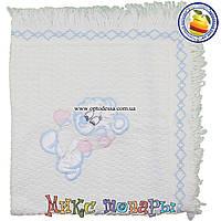 Белый вязанный Плед с мишкой для малышей Размер 80х 95 см (5199-5)