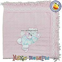Розовый вязанный Плед с мишкой для малышей Размер 80х 95 см (5199-4)